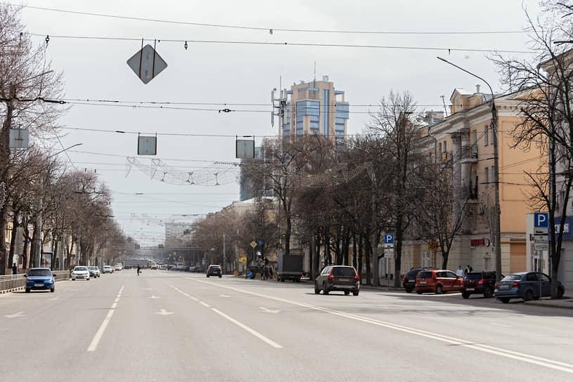 Март 2020 года. Начало режима обязательной всеобщей самоизоляции. Пустые улицы Воронежа в разгар рабочего дня