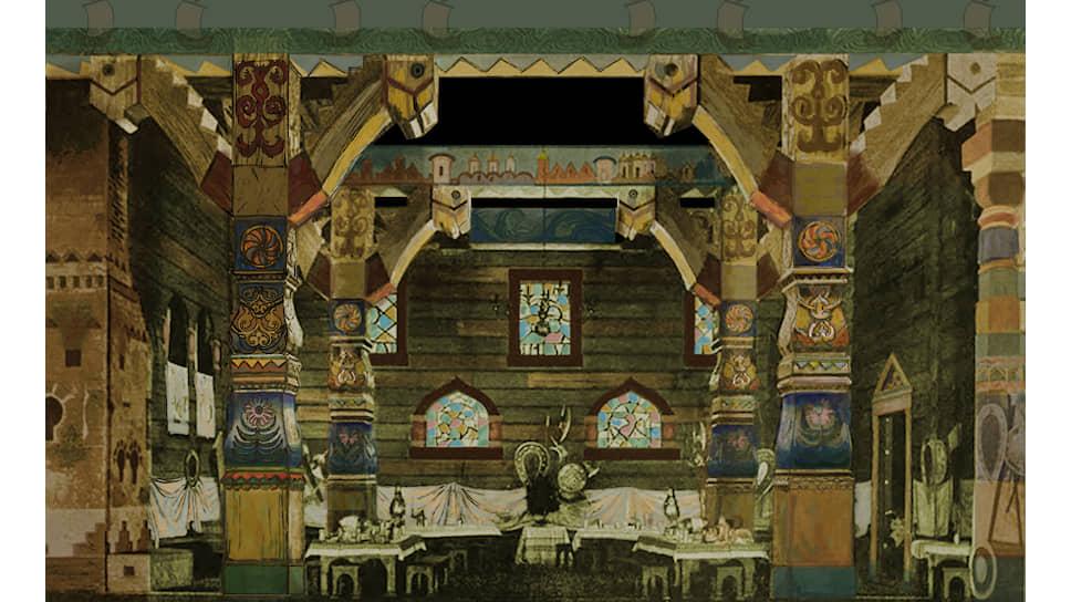 Раскрашенная репродукция эскиза декораций к опере «Садко» 1901 года Аполлинария Васнецова
