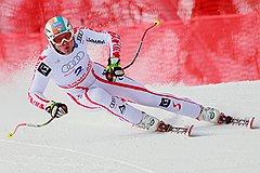 Скоростной спуск по олимпийской трассе Мануэля Крамера, занявшего первое место на этапе кубка Европы по горнолыжному спорту среди мужчин
