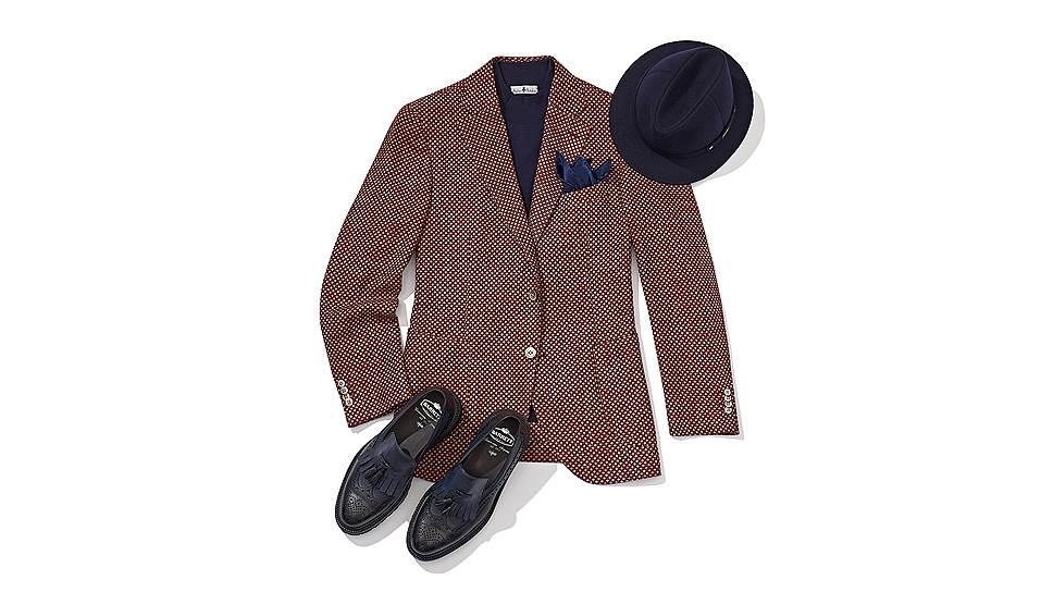 Пиджак Atelier Portofino, поло Atelier Portofino, шляпа Borsalino, обувь Barrett, платок Italo Ferretti