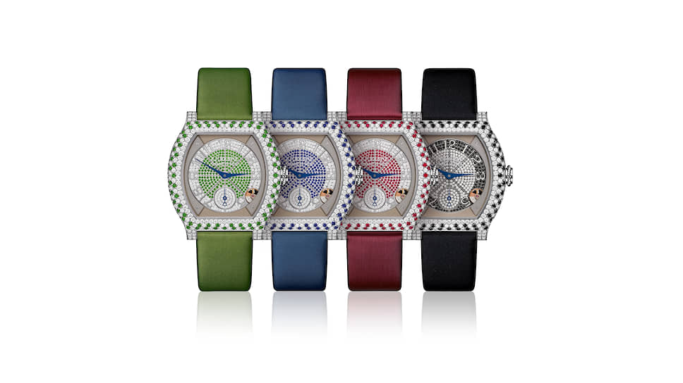Elegante, 40 мм, платина, зеленые цавориты, синие сапфиры, красные рубины, черные и белые бриллианты, электромеханический калибр