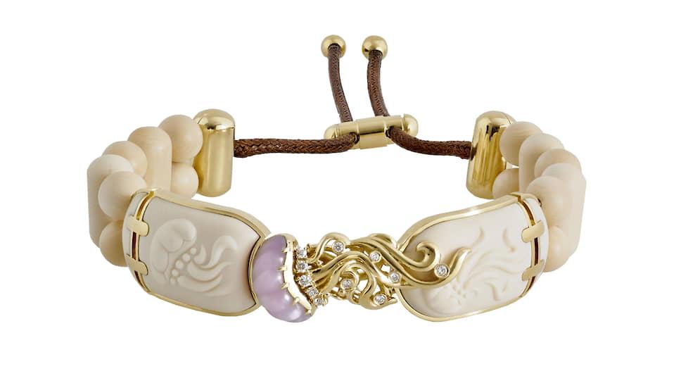 Браслет «Медуза», бивень мамонта, золото, бриллианты, опал