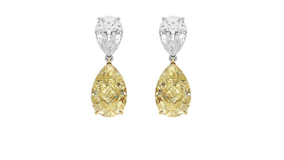 Серьги Classic, белое и желтое золото, бесцветные бриллианты огранки «груша» общим весом 4 карата, желтые бриллианты огранки «груша» общим весом 12 карат