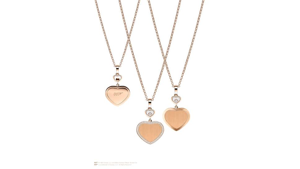 Подвески Happy Hearts — Golden Hearts, розовое золото, бриллианты