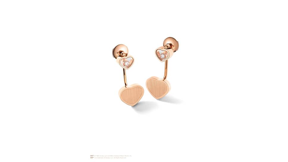 Серьги Happy Hearts — Golden Hearts, розовое золото, бриллианты