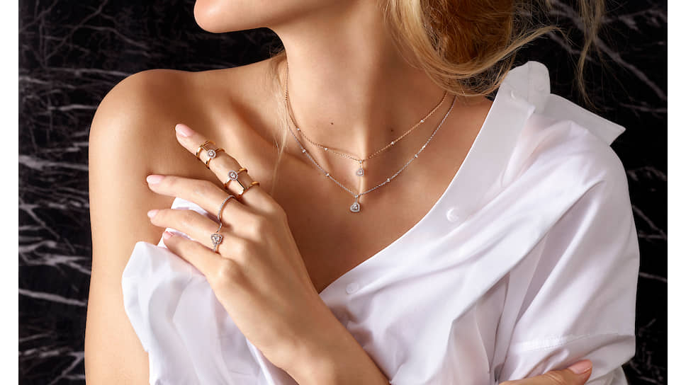 Подвески и кольцо Joy Coeur, кольца Glamazone и Gatsby, розовое и белое золото, бриллианты