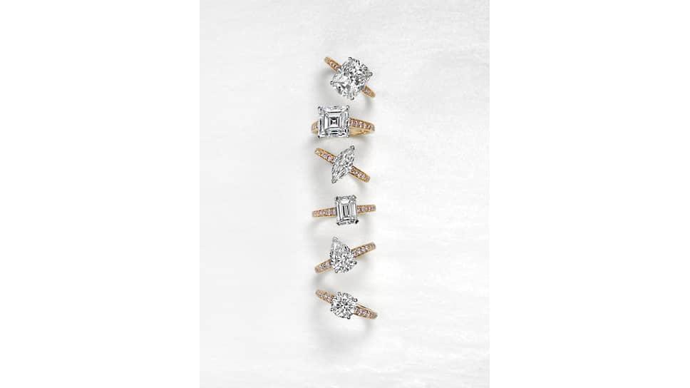 Сверху вниз: кольца Flame, розовое золото, паве из бриллиантов, центральные бриллианты огранок «подушка», «квадрат», «маркиза», «изумруд», «груша» и «круг»