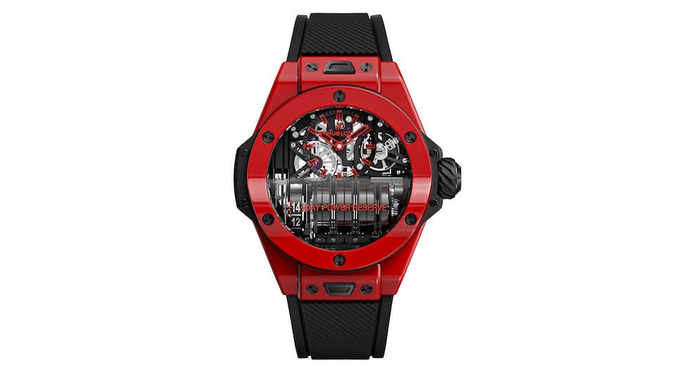 Hublot, часы Big Bang MP-11Red Magic, 45 мм, красная керамика, механизм с ручным подзаводом, запас хода 14 дней, лимитированная серия в 100 экземпляров