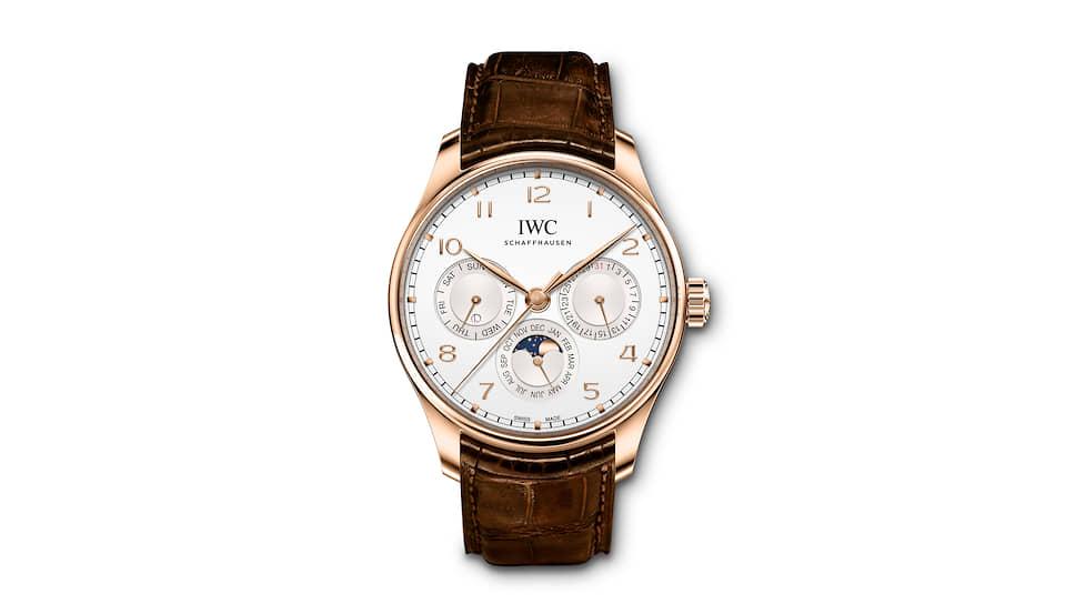 IWC, часы Portugieser Perpetual Calendar, 42 мм, розовое золото, механизм с автоматическим подзаводом, запас хода 60 часов