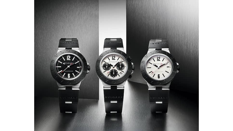Слева направо: Bvlgari Aluminium c черным циферблатом; Bvlgari Aluminium c серым циферблатом и функцией хронографа; Bvlgari Aluminium c серым циферблатом