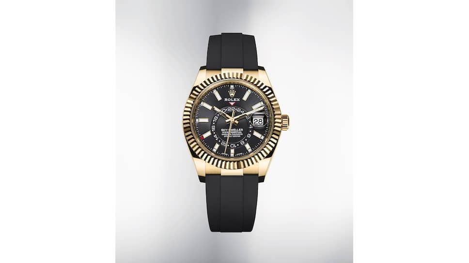 Rolex Sky-Dwellers с календарем в корпусе 42 мм из 18-каратного желтого золота и золота Everose получили браслет Oysterflex