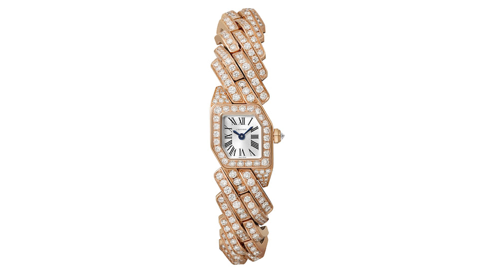 Cartier Maillon de Cartier в корпусе розового золота с 401 бриллиантом на 8,37 карата. Кварцевый механизм, водонепроницаемость до 30 м