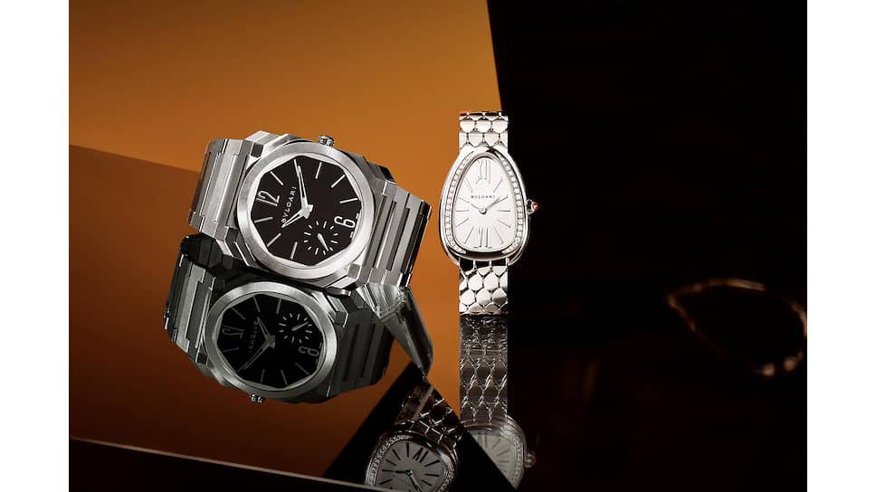 Главные линии года для Bvlgari — тонкие мужские Octo Finissimo и женские Serpenti Seduttori, а также Bvlgari Aluminium (на руке у Жан-Кристофа Бабена)