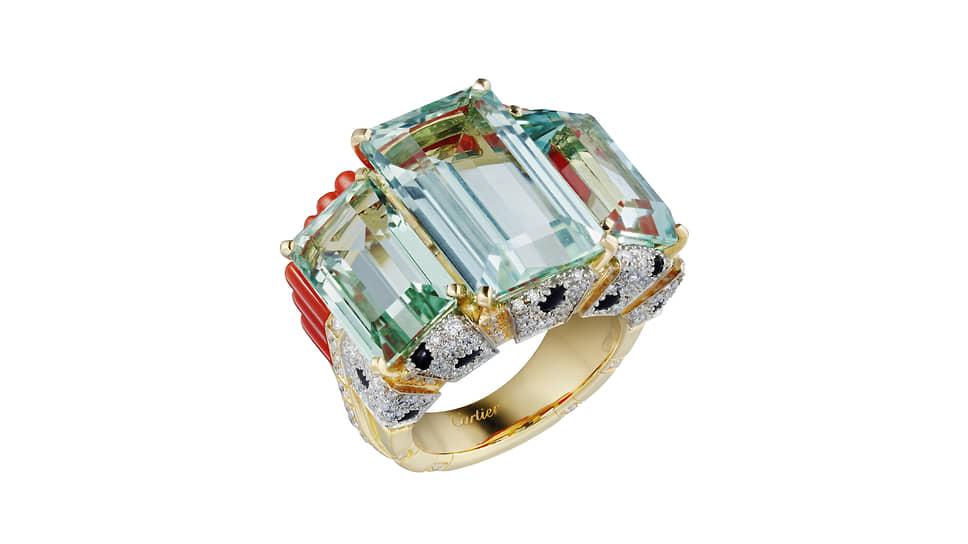 Кольцо Panthere Tropicale, желтое золото, аквамарины, коралл, оникс, бриллианты