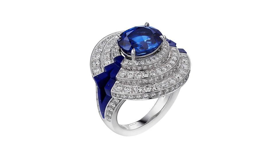 Кольцо Sinope, белое золото, сапфир, лазурит, бриллианты