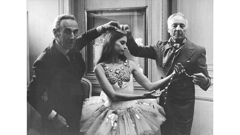 Пьер Арпельс (слева), балерина Сьюзен Фаррелл и хореограф Джордж Баланчин, около 1976 года