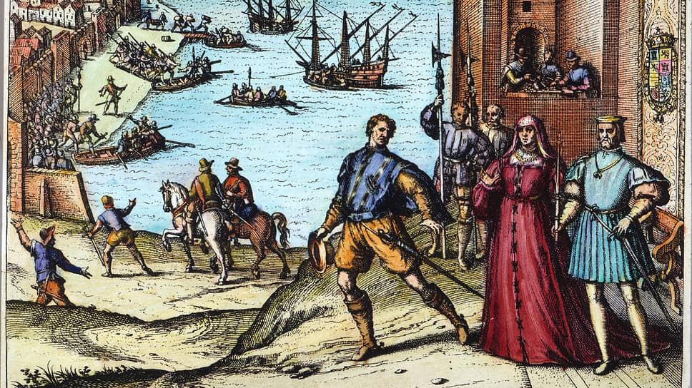 Финансирование выделено. За работу! (Дисклеймер — на самом деле королева Изабелла и король Фердинанд не присутствовали при отплытии флотилии Колумба из Палоса, это аллегория)