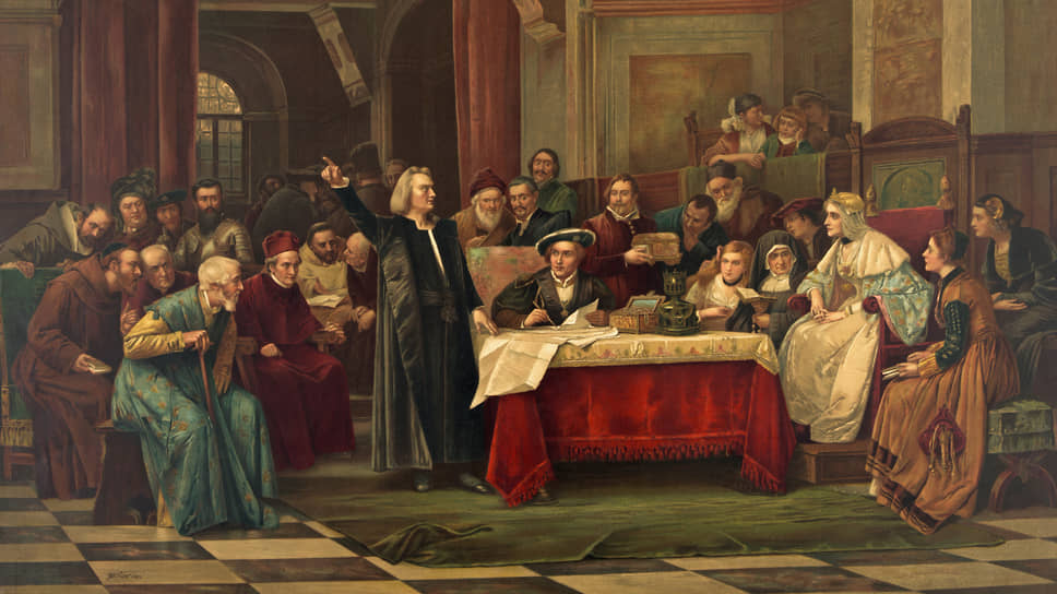 Христофор Колумб уговаривает испанских монархов стать бизнес-ангелами и вложить средства в поиски нового торгового маршрута