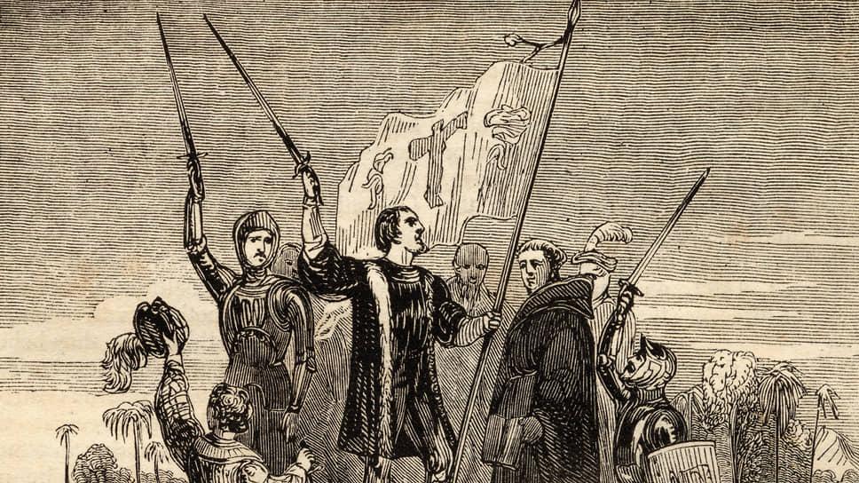 Гравюра с Христофором Колубом во время одного из его путешествий