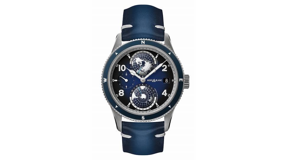 Montblanc, часы 1858 Geosphere, 42 мм, титан, сталь, механизм с автоматическим подзаводом, запас хода 42 часа