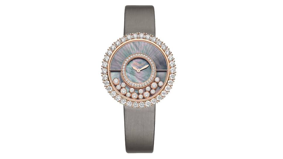 Chopard Happy Diamonds Joaillerie. Корпус из «этичного» розового золота, бриллианты, циферблат из таитянского перламутра