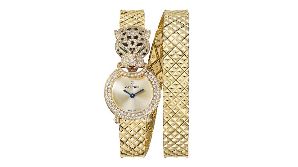 Cartier Panthere. Кварцевый механизм, корпус из желтого золота, 434 бриллианта, изумруды, черный лак