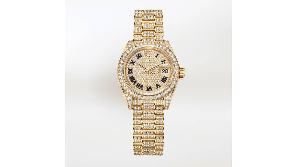 Rolex Oyster Perpetual Lady-Datejust. Корпус 28 мм из желтого золота с бриллиантами