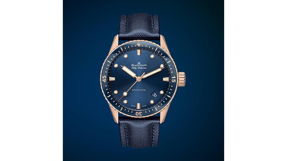 Blancpain, часы Fifty Fathoms Bathyscaphe, 43 мм, сталь, механизм с автоматическим подзаводом, запас хода 120 часов, водонепроницаемость 300 м