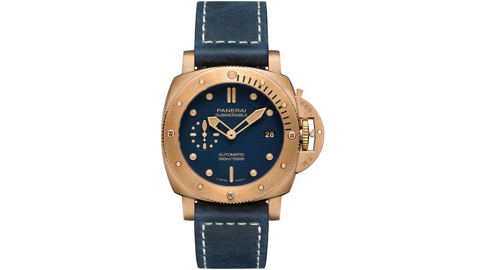 Panerai, часы Submersible Bronzo Blu Abisso, 42 мм, бронза, механизм с автоматическим подзаводом, запас хода 3 дня, водонепроницаемость 300 м