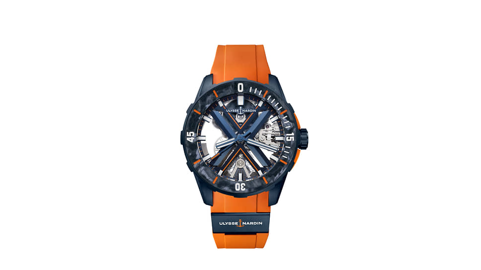 Ulysse Nardin, часы Diver X Skeleton, 44 мм, композитный материал Carbonium, механизм с автоматическим подзаводом, запас хода 96 часов, водонепроницаемость 200 м