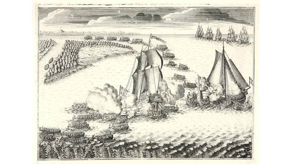 Бой в устье Невы 7 (18) мая 1703 года иногда называют первым сражением русского флота. Гравюра Алексея Зубова. 1726 год
