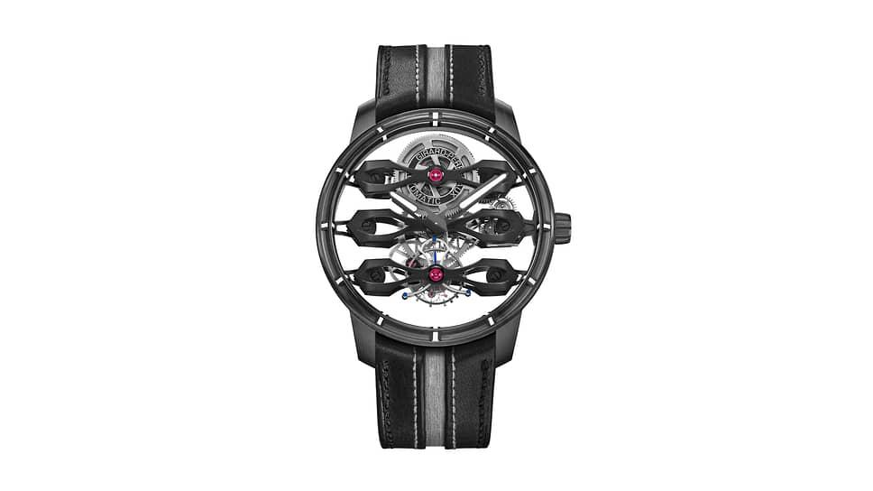 Girard-Perregaux, часы Tourbillon with Three Flying Bridges — Aston Martin Edition, 44мм, титан, механизм с автоматическим подзаводом