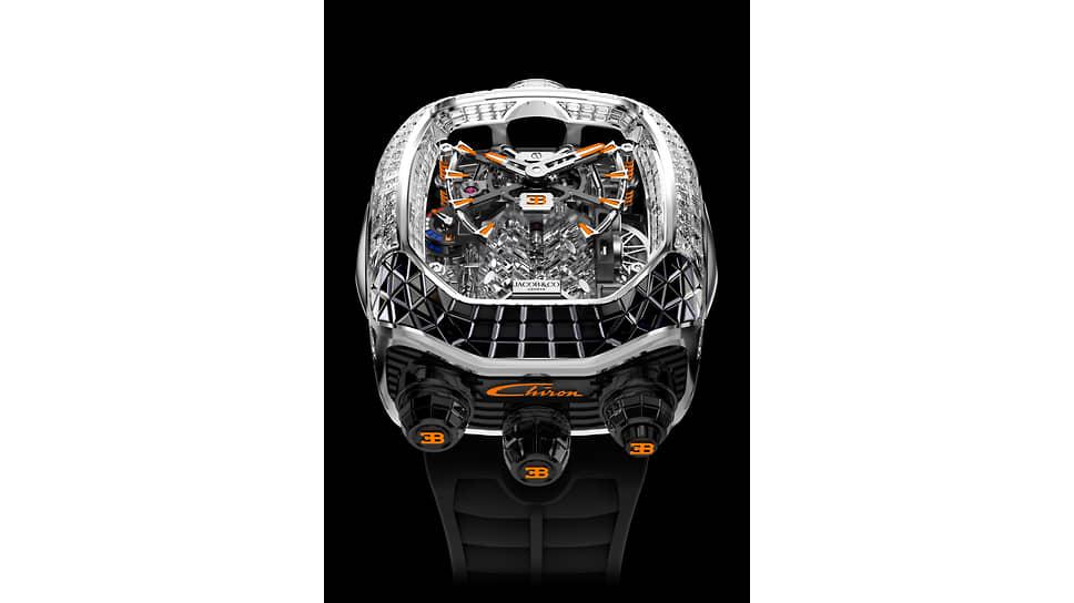 Jacob & Co, часы Bugatti Chiron Tourbillon, 55х44мм, белое золото, бриллианты, сапфиры, механизм с ручным подзаводом