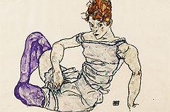 Эгон Шиле. «Сидящая женщина в фиолетовых чулках», 1917 год. Sotheby's, эстимейт £3–5 млн