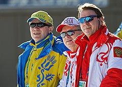 Президент Олимпийского комитета России Леонид Тягачев (в центре) и управляющий делами президента России Владимир Кожин (справа)