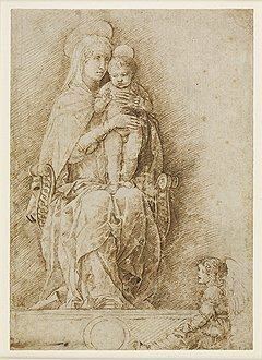 Андреа Мантенья. «Богоматерь с младенцем и ангелом», около 1490 года. Карандаш, тушь, уголь