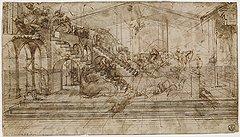 Леонардо да Винчи. Эскиз для второго плана «Поклонения волхвов», около 1481 года. Карандаш, коричневые чернила, коричневая акварель, белила