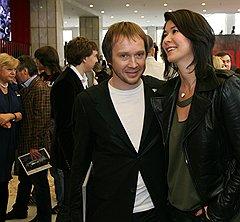 Актер Евгений Миронов и владелица World Class Ольга Слуцкер