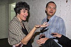 Главный редактор Openspace.ru Мария Степанова и владелец Openspace.ru, гендиректор ФК «Открытие» Вадим Беляев на вечеринке, посвященной перезапуску Openspace.ru
