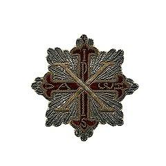 Звезда Константиновского военного ордена св. Георгия (шитая). Парма, 1850 год. Серебро, бумага, мишура, бархат