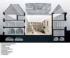Залы Нового Альбертинума: внутренний двор (1), Скульптурное собрание (2), Галерея современного искусства (3), Зал мозаики (4), Галерея новых мастеров (5), хранилище живописи (6), реставрационные мастерские (7)