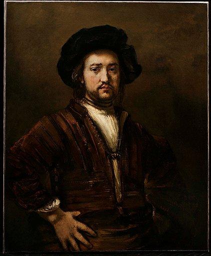 "Рембрандт. ""Подбоченившийся мужчина"", 1658 год. Холст, масло. Галерея Otto Naumann"
