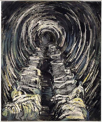"""""""Убежище в метро. Перспектива"""". Из серии """"Рисунки в убежище"""", 1941 год"""