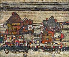 Эгон Шиле. «Дома с пестрым бельем», 1914 год. Холст, масло. Sotheby's, эстимейт £22–30 млн