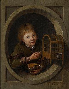 """Питер Слингеландт. """"Мальчик с клеткой"""", вторая половина XVII века. Галерея Fergus Hall Master Paintings"""