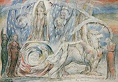 """Уильям Блейк. """"Беатриче, восседающая на влекомой грифом колеснице"""", 1824-27 годы"""