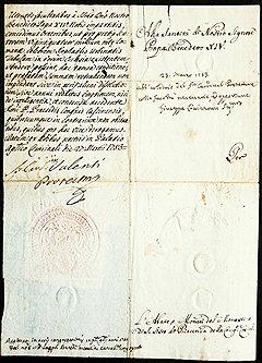 """Разрешение на продажу """"Сикстинской Мадонны"""", подписанное папой Бенедиктом XIV 27 марта 1753 года"""