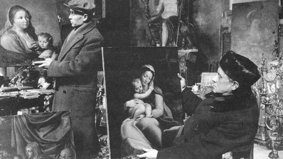 Подготовка к выставке в Эрмитаже. Справа М.В. Доброклонский, 1944 год