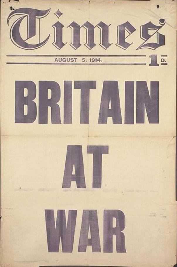"""Передовица TheTimes """"Британия вступила в войну"""", 5августа 1914года"""