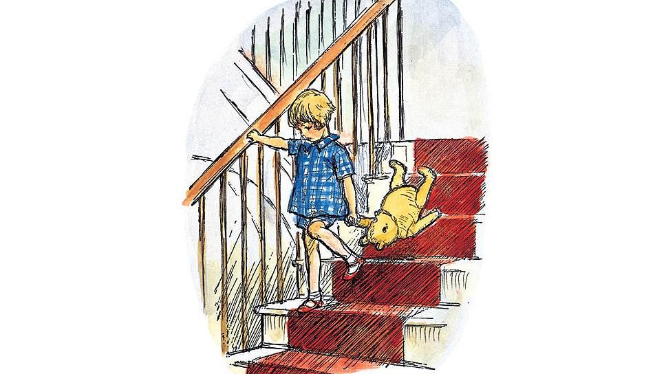 «Винни-Пух спускается по лестнице». Иллюстрация Эрнеста Шепарда, 1926 год